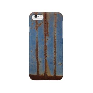 錆びた青ペンキの鉄板 Smartphone cases