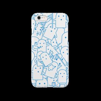 陽崎杜萌子@LINEスタンプ販売中の白いハニワ【うじゃうじゃ(青)】 Smartphone cases