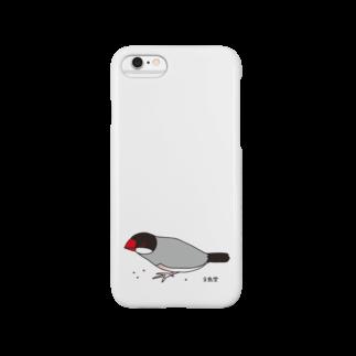 文鳥堂の雑穀を食べる文鳥スマートフォンケース