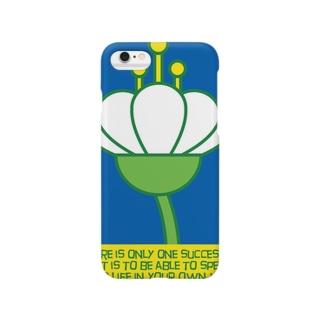 花の横顔 ブルー Smartphone cases