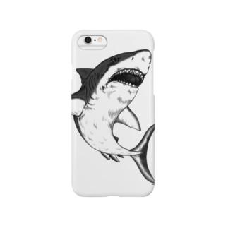 凶暴につき注意!手描きサメ-モノクロ Smartphone cases
