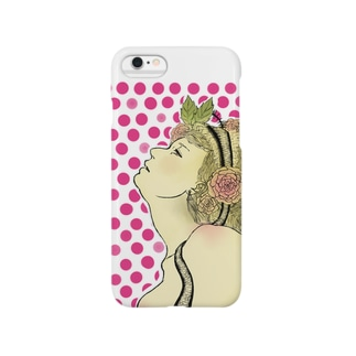 草花と女性 Smartphone cases