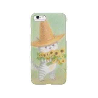 麦藁帽子をかぶった猫 ひまわり Smartphone cases