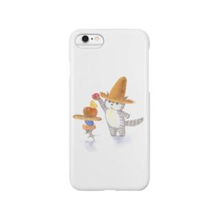 麦藁帽子をかぶった猫 これもあげる Smartphone cases