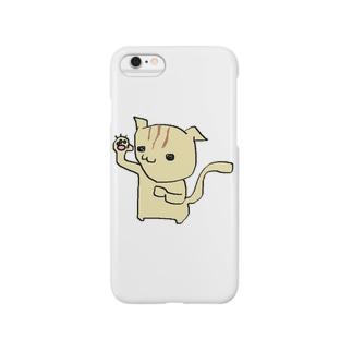 片手挙げる猫 Smartphone cases