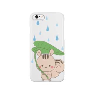 リスと葉っぱの雨傘 Smartphone cases