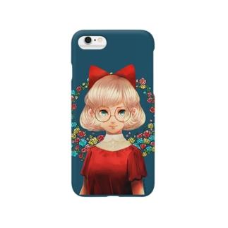 丸メガネ少女 Smartphone cases