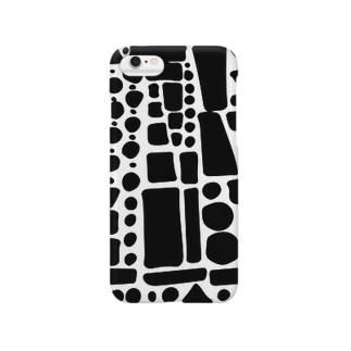 ブラックぽたぽたぽふぽふ スマートフォンケース