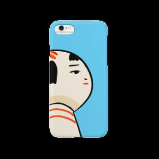仙台弁こけしの仙台弁こけし(そんな日もあるっちゃ・水色) Smartphone cases