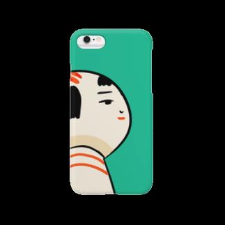 仙台弁こけしの仙台弁こけし(そんな日もあるっちゃ・緑) Smartphone cases