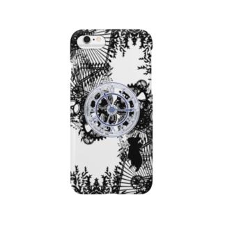 時計とうさぎ(青) Smartphone cases