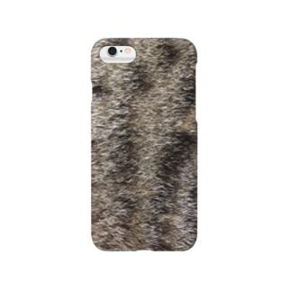猫毛柄iPhoneケース(キジトラ) Smartphone cases