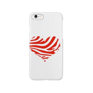 シマウマハート-赤 Smartphone cases