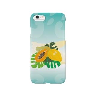 フレッシュなフルーツのパパイヤとモンステラ Smartphone cases