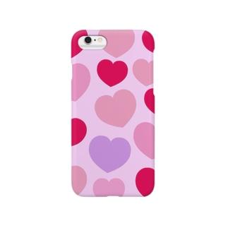 総柄ハートiPhoneケース Smartphone cases