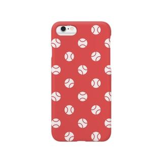 野球ボールの水玉(赤) Smartphone cases
