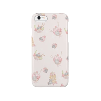 よしのやのぶさねこ×スイーツ ピンク Smartphone cases