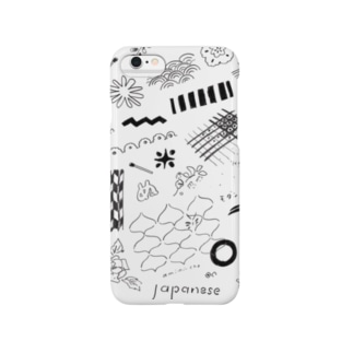 ちよがみ柄 ブラック Smartphone cases