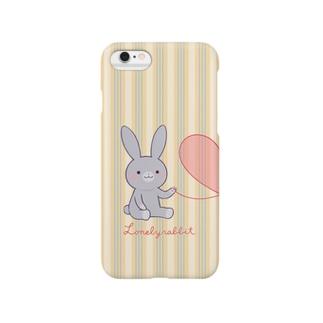 寂しがりうさぎ(赤い糸・ペア・グレー) Smartphone cases
