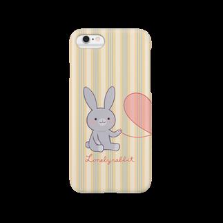 おがわゆきこの寂しがりうさぎ(赤い糸・ペア・グレー) Smartphone cases