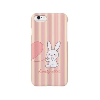 寂しがりうさぎ(赤い糸・ペア・白) Smartphone cases