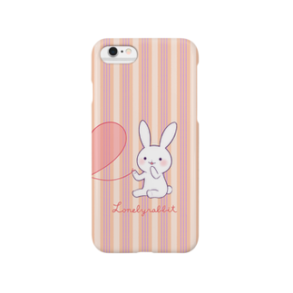 おがわゆきこの寂しがりうさぎ(赤い糸・ペア・白) Smartphone cases