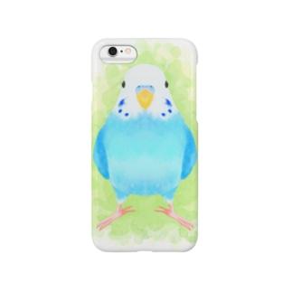 セキセイインコ ブルー【まめるりはことり】 Smartphone cases