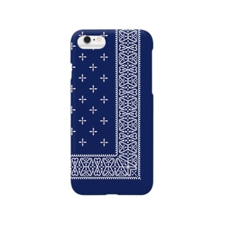 garyu_by_HiRiver_Designのヴィンテージバンダナblue Smartphone cases