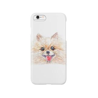 佳山隆生 わんにゃん画(ポメラニアン) Smartphone cases