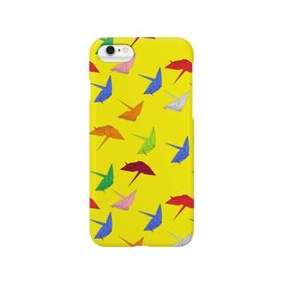 和柄 千羽鶴 黄 Smartphone cases