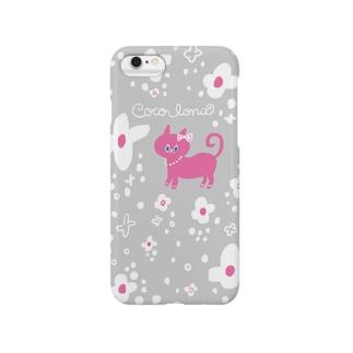 お花畑のねこ(グレー) Smartphone cases