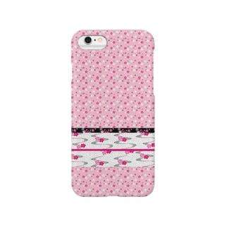 和柄 梅 ピンク Smartphone cases