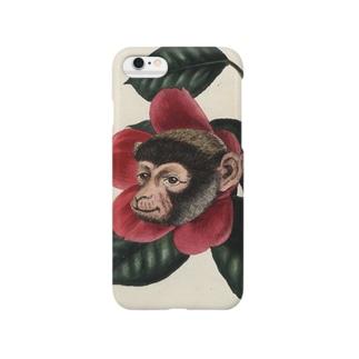 絶滅危惧種の猿とツバキ Smartphone cases