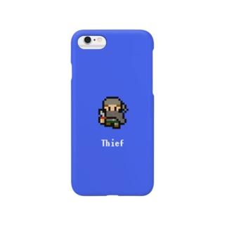 ドット絵の盗賊(ブルー) Smartphone cases