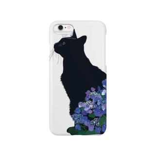 6月(黒猫紫陽花) Smartphone cases