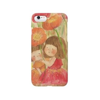 ポピー畑と妖精の女の子 Smartphone cases
