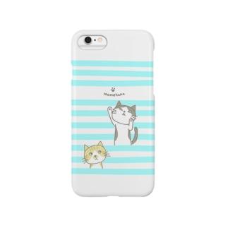 しましまねこ(水色) Smartphone cases