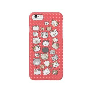 ねこいっぱい(ピンク/水玉) スマートフォンケース
