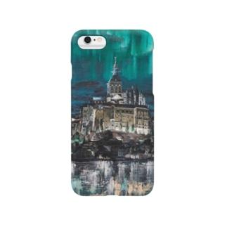 オーロラのモンサンミッシェル Smartphone cases