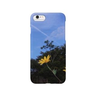 菊芋と樹木と空 DATA_P_140 tree sky Smartphone cases