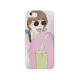 サングラスの女の子 Smartphone cases