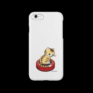 ZOUSAN STOREのネコとおそうじロボ(茶トラ白) iPhoneケース Smartphone cases