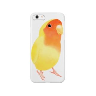 コザクラインコ おすましルチノー【まめるりはことり】 Smartphone cases