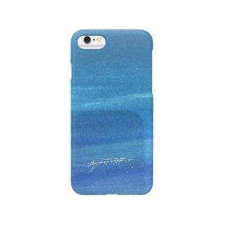 水彩ブルー スマートフォンケース