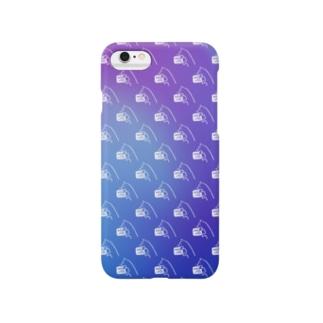 まるかじり猫ロゴiphoneケース・まだら紫 Smartphone cases
