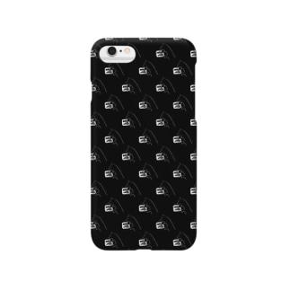 まるかじり猫ロゴiphoneケース・黒 Smartphone cases