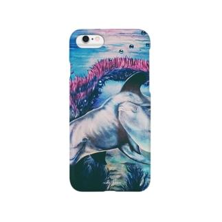 『イルカの親子』油絵 iPhone6/S専用 Smartphone cases