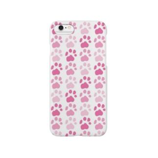 肉球ストライプ pink Smartphone cases