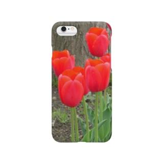 赤チューリップ Smartphone cases