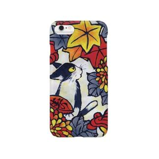青猫花猫〜菊椛〜 Smartphone cases